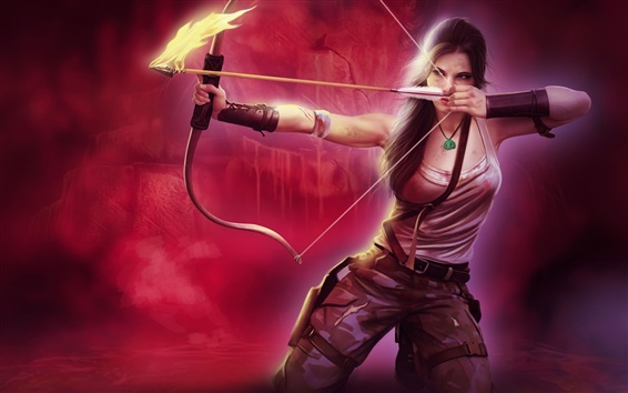 Wallpaper Lara Croft, Tomb Raider, beautiful girl, bow, arrow, fire