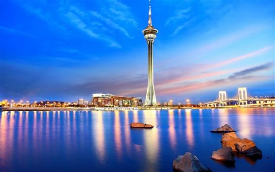Fondos de pantalla Macau, China, ciudad de la noche, torre, puente, mar, luces