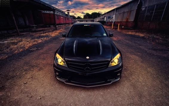 Wallpaper Mercedes-Benz C63 AMG black car