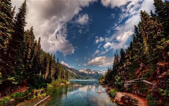 Fondos de pantalla Paisaje de la naturaleza, río, árboles, montañas, nubes