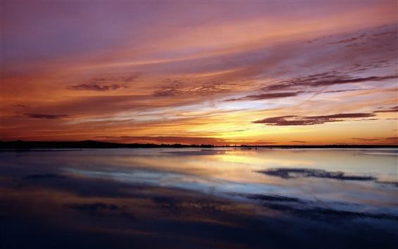 Обои Природа пейзаж, море, побережье, закат, красное небо