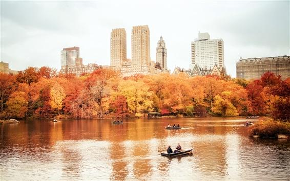 Wallpaper New York City, Manhattan, Central Park, autumn, boats, buildings