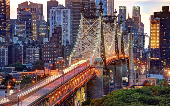 Fondos de pantalla Ciudad de Nueva York, EE.UU., Manhattan, Puente de Queensboro, edificios, luces