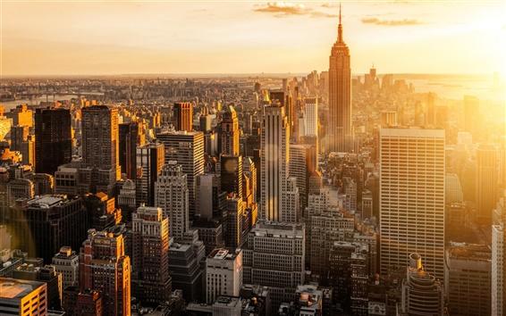 Fondos de pantalla Nueva York, EE.UU., Manhattan, ciudad mañana, amanecer, rascacielos, edificios