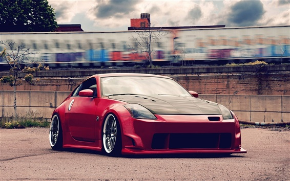 Wallpaper Nissan 350Z red color supercar