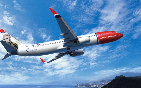 Wallpaper Norwegian Air, Boeing 737 Airplane