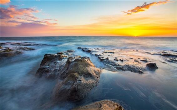 Fondos de pantalla Oregon paisaje, puesta de sol, rocas, océano, mar