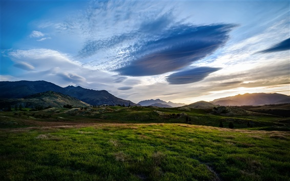 Wallpaper Queenstown, New Zealand, fields, valley, blue sky, dusk