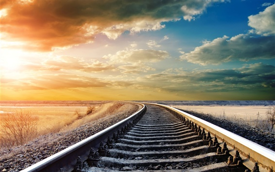 Wallpaper Railway, railroad rails, warm day, sky clouds, sunset