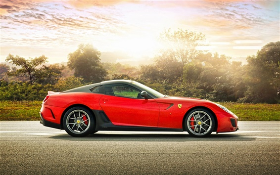 Wallpaper Red Ferrari 599 GTO sports car