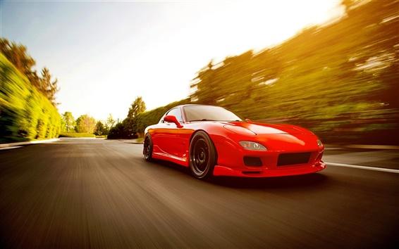 Wallpaper Red Mazda RX-7 FD supercar run in high speed
