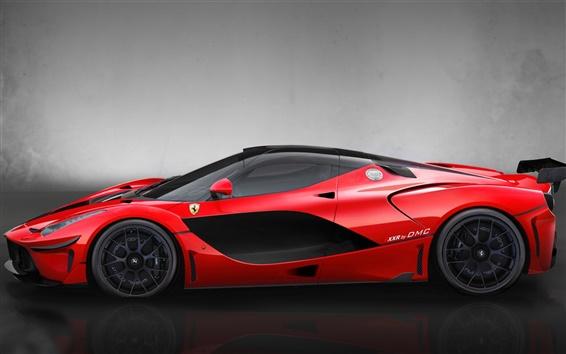 Wallpaper Red supercar, DMC LaFerrari FXXR side view