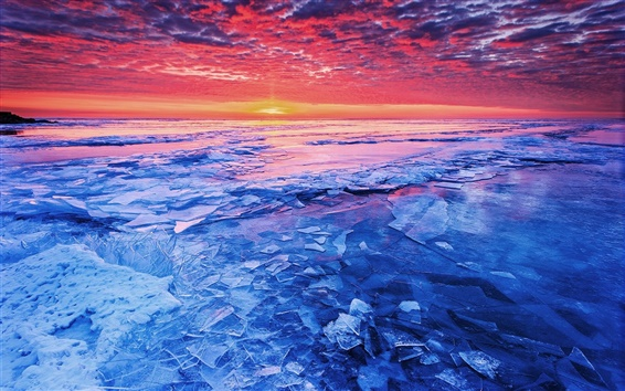 Wallpaper Sea sunset and shattered ice