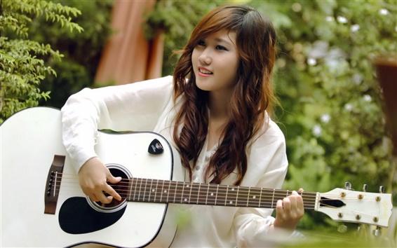 Wallpaper Smile guitar girl, music, asian