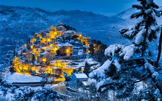 Wallpaper Snow winter, mountains, forest, village, evening, dusk, lights