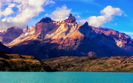 Fondos de pantalla América del Sur, Chile, el Parque Nacional Torres del Paine, montañas, lago