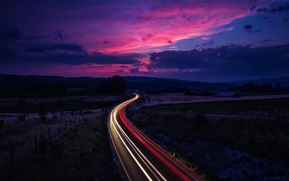 Wallpaper Switzerland, road traffic, lines light, sunset, twilight, purple sky