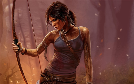 Hintergrundbilder Tomb Raider, Lara Croft, PC-Spiel, Nacht, Bogen