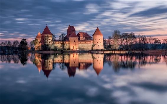 Papéis de Parede Trakai, Lituânia, castelo, lago, reflexão da água, do sol