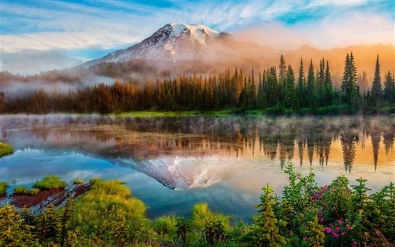 Fond d'écran Washington, montagnes de cascade, matin, forêt, lac, brume, lever de soleil
