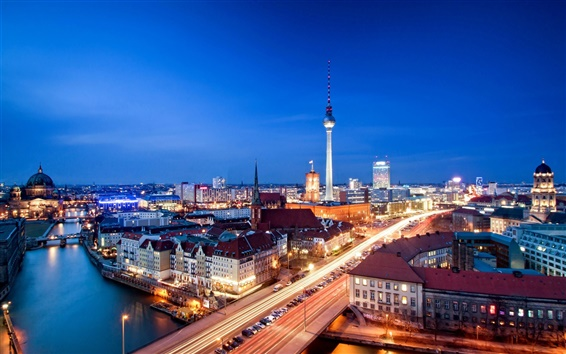Wallpaper Alexanderplatz, Berlin, Germany, city night, evening, house, lights