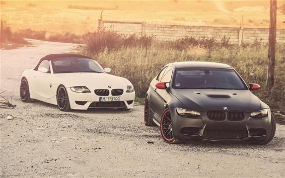 Wallpaper BMW M3 Z4, white and black car