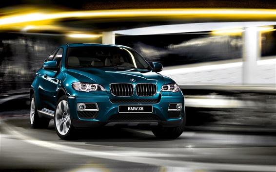 Wallpaper BMW X6 blue car