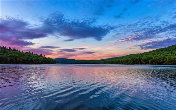 Fond d'écran Beau paysage lac du matin, aube, nuages, arbres