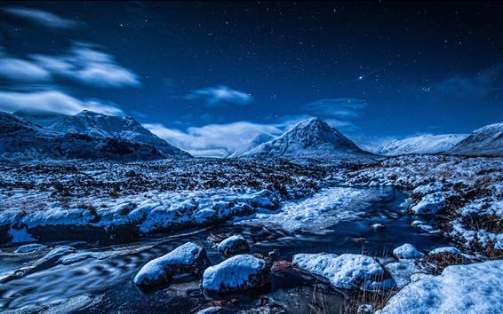 Wallpaper Blue winter landscape, snow, mountains, stars, stream, night