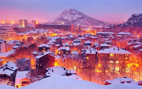 Fond d'écran Lumières de la ville en hiver, Plovdiv, Bulgarie