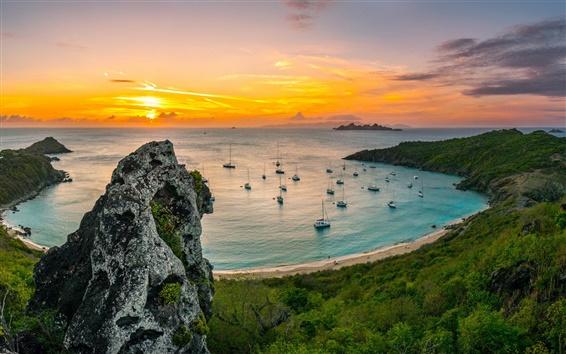 Wallpaper Coast landscape, sea, bay, beach, boat, morning sunrise