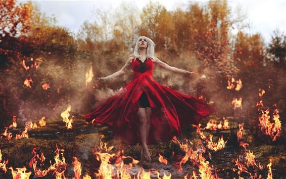 Обои Творческие фотографии, девушка магическая сила, пламя, огонь
