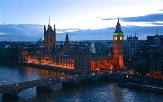 Wallpaper England, London, evening dusk, lights, bridge, river, buildings