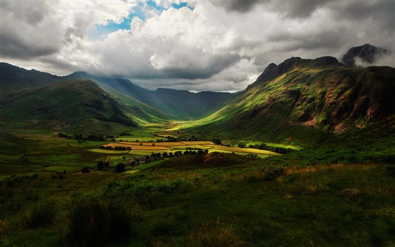 Wallpaper England nature, valley, mountains, hills, fields, sky, clouds, shadow