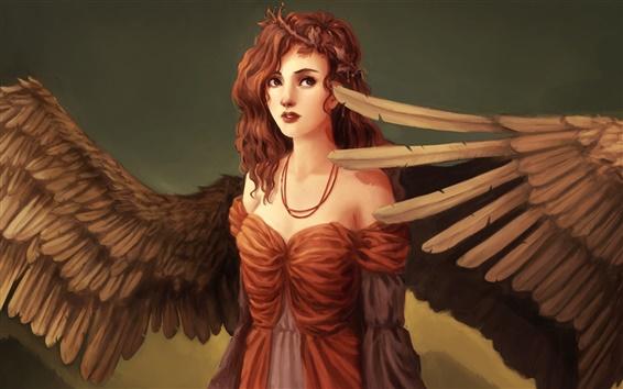 Wallpaper Fantasy art girl, wings, angel, red hair, curls