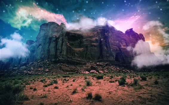 Wallpaper Fantasy scenery, creative, mountain, cliff, clouds, space, stones, stars