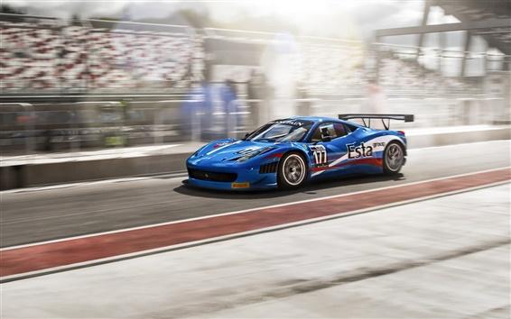 Wallpaper Ferrari 458 Italia blue supercar, FIA GT3