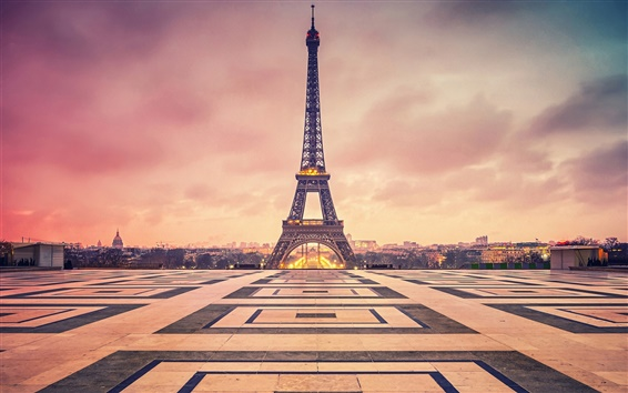 Wallpaper France, Paris, Eiffel Tower, evening, dusk