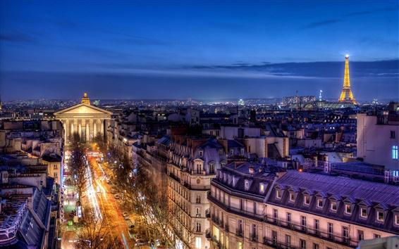 Fondos de pantalla Francia, París, Provinces Opera, edificios, casa, luces de noche