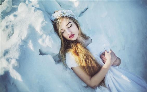 Wallpaper Girl in winter, snow, white