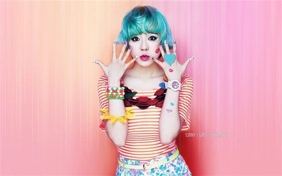 Wallpaper Girls Generation, Sunny, blue hair