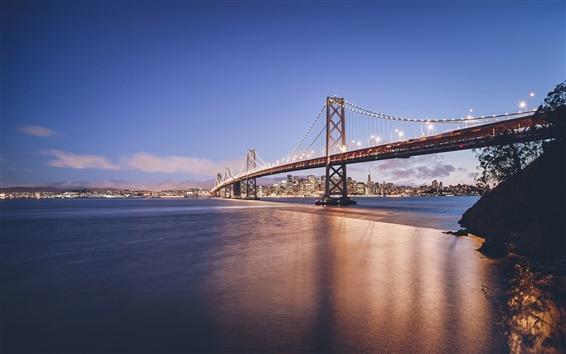 Wallpaper Golden Gate Bridge, San Francisco, California, USA, city, river