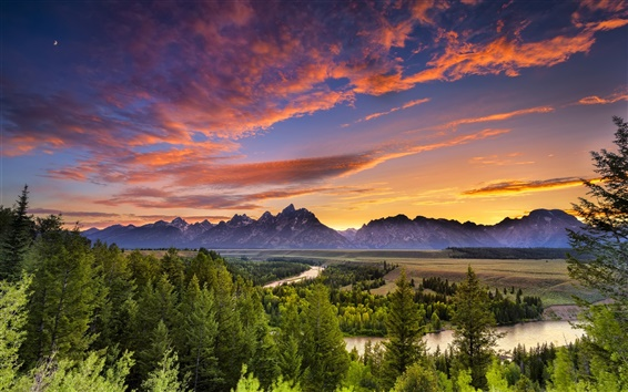 Wallpaper Grand Teton National Park, Wyoming, river, forest, sunset, sky, trees