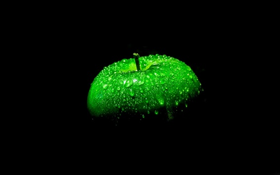 Wallpaper Green apple, black background