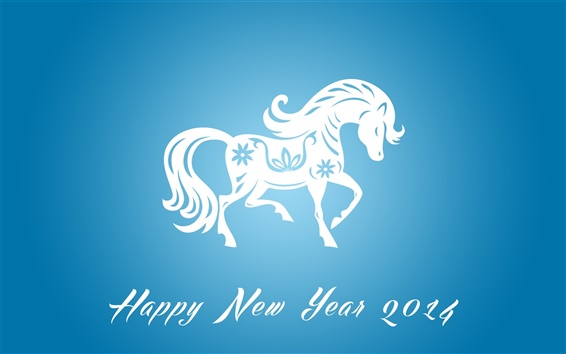 Wallpaper Happy New Year 2014, horse year, blue