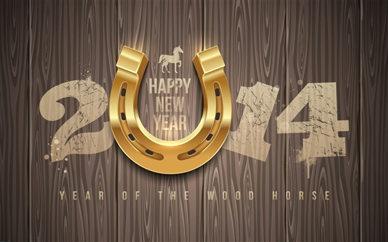 Wallpaper Happy New Year 2014, wood, horse
