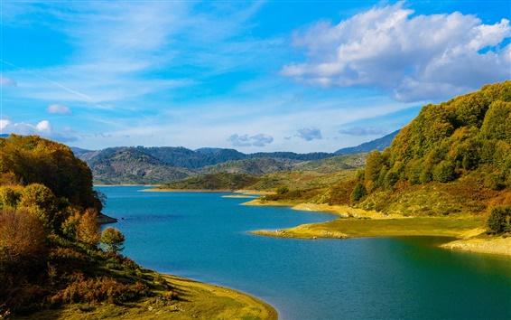 Wallpaper Hills, trees, lake, autumn, blue sky