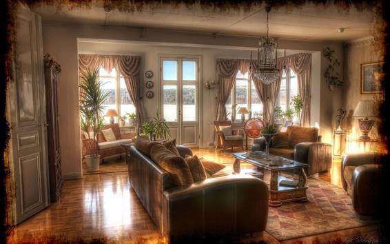 Обои Дизайн интерьера, ретро, диван, люстра