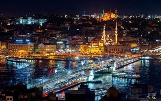 Wallpaper Istanbul, Turkey, night lights, city, buildings, bridge, water