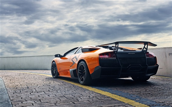 Fondos de pantalla Lamborghini Murcielago LP670-4 SV supercar anaranjado
